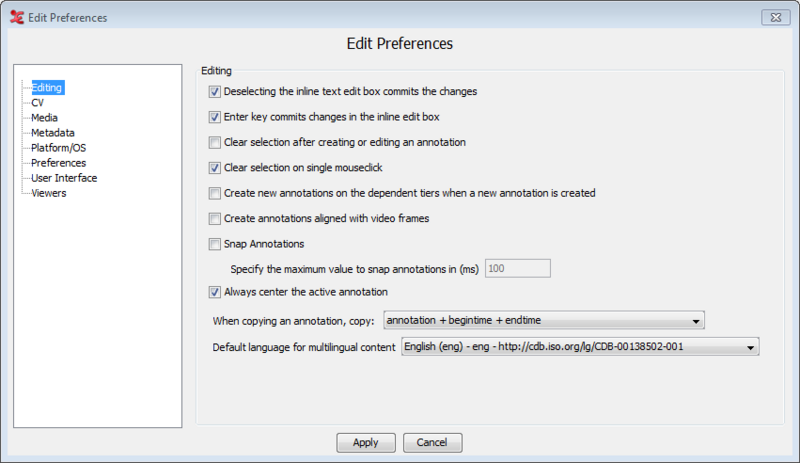 1 3  Editing preferences