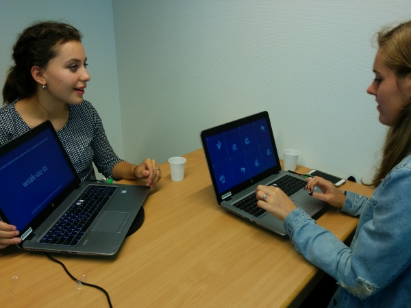 A pair of participants interacting in the group communication experiment